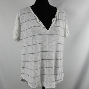 Madewell Top Large White Gray Stripe #E9328 Tee